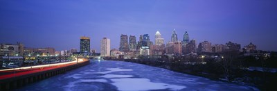 Buildings lit up at night, Philadelphia, Pennsylvania, USA Poster by Panoramic Images for $71.25 CAD