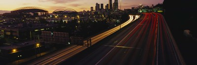 Aerial view at dusk, Seattle, Washington State, USA Poster by Panoramic Images for $67.50 CAD