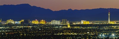 Aerial View Of Buildings Lit Up At Dusk, Las Vegas, Nevada, USA Poster by Panoramic Images for $71.25 CAD