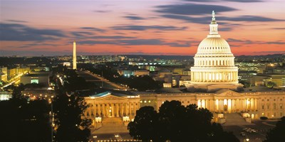 High angle view of a city lit up at dusk, Washington DC, USA Poster by Panoramic Images for $62.50 CAD