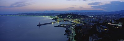 Aerial view of a coastline at dusk, Nice, France Poster by Panoramic Images for $86.25 CAD