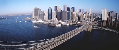 Aerial View Of Brooklyn Bridge, Lower Manhattan, NYC, New York City, New York State, USA Poster by Panoramic Images for $86.25 CAD