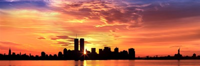 US, New York City, skyline, sunrise Poster by Panoramic Images for $71.25 CAD