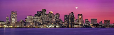 USA, Massachusetts, Boston, View of an urban skyline by the shore at night Poster by Panoramic Images for $86.25 CAD
