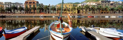Italy, Sardinia, Bosa, Boats moored on the dock Poster by Panoramic Images for $71.25 CAD