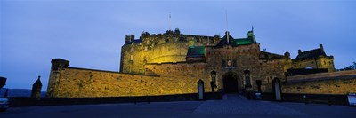 Castle Lit Up At Dusk, Edinburgh Castle, Edinburgh, Scotland, United Kingdom Poster by Panoramic Images for $71.25 CAD
