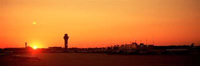 Sunset Over An Airport, O'Hare International Airport, Chicago, Illinois, USA Poster by Panoramic Images for $86.25 CAD