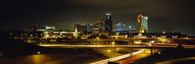 Buildings Lit Up At Night, Kansas City, Missouri, USA Poster by Panoramic Images for $86.25 CAD