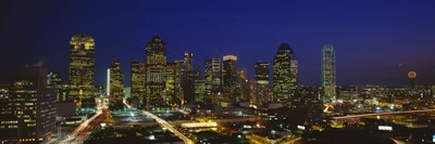Buildings in a city lit up at night, Dallas, Texas, USA Poster by Panoramic Images for $71.25 CAD
