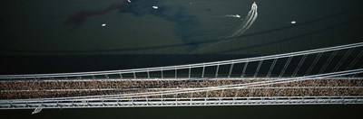 Aerial view of a crowd running on a bridge, New York City Marathon, New York City, New York, USA Poster by Panoramic Images for $86.25 CAD