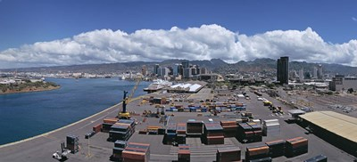 Cargo containers at a harbor, Honolulu, Oahu, Hawaii, USA 2007 Poster by Panoramic Images for $86.25 CAD