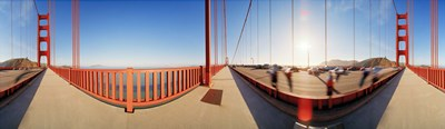 Group of people on a suspension bridge, Golden Gate Bridge, San Francisco, California, USA Poster by Panoramic Images for $86.25 CAD