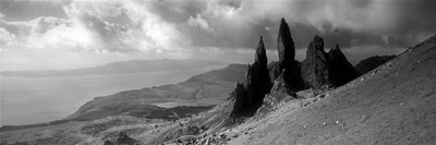 Rock formations on hill in black and white, Isle of Skye, Scotland Poster by Panoramic Images for $71.25 CAD