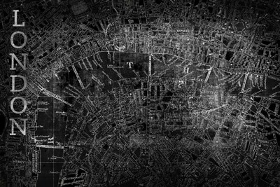 Map London Black Poster by Posters International Studio for $43.75 CAD