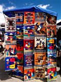 Pillow covers for sale at a handicraft market, Otavalo, Imbabura Province, Ecuador