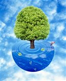 Lush green tree growing from half sphere of blue water and ripples floating in cloudy blue sky