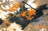 Collage of green and pale orange leaves, white paper flower and abstract rocks