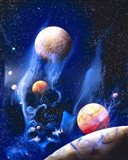 Conceptualized universe with planets (vertical)