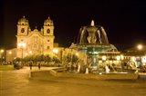 Fountain lit up at night at a town square, Cuzco, Cusco Province, Cusco Region, Peru