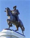 Statue of Sam Houston pointing towards San Jacinto battlefield against blue sky, Hermann Park, Houston, Texas, USA