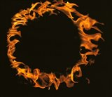 Flamed Circle on Black Background