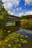 Covered bridge across a river, Vermont, USA