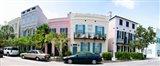 Rainbow row colorful houses along a street, East Bay Street, Charleston, South Carolina, USA