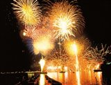 Fireworks display in night