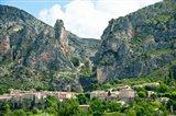 Village at mountainside, Moustiers-Sainte-Marie, Alpes-de-Haute-Provence, Provence-Alpes-Cote d'Azur, France