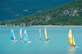 Windsurfers on the lake, Lac de Sainte Croix, Sainte-Croix-Du-Verdon, Provence-Alpes-Cote d'Azur, France