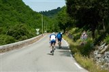 Bicyclists on the road, Bonnieux, Vaucluse, Provence-Alpes-Cote d'Azur, France