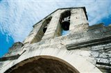 Low angle view of a bell tower on a bridge, Pont Saint-Benezet, Rhone River, Provence-Alpes-Cote d'Azur, France