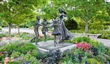 Bronze statue of mother and children, Temple Square, Salt Lake City, Utah, USA