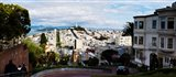 Aerial view of the Lombard Street, Coit Tower, Bay Bridge, San Francisco, California, USA