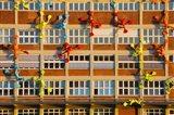 Flossies Figures covering a Building, Medienhafen, Dusseldorf, North Rhine Westphalia, Germany