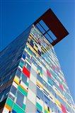 Facade of a Coroful building, Medienhafen, Dusseldorf, North Rhine Westphalia, Germany