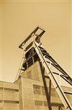 Low angle view of a coal mine, Zollverein Coal Mine Industrial Complex, Essen, Ruhr, North Rhine-Westphalia, Germany