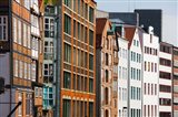 Warehouses in a row, Nicolai Fleet Canal, Hamburg, Germany