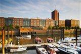 Boats docked at a harbor, HafenCity, Hamburg, Germany