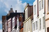 Low angle view of old town buildings, Fleischhauer Strasse, Lubeck, Schleswig-Holstein, Germany