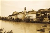 Medieval town at the waterfront, Salzach River, Burghausen, Bavaria, Germany