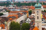 High angle view of buildings with a church in a city, Heiliggeistkirche, Munich, Bavaria, Germany