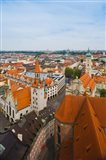 High angle view of buildings and a church in a city, Heiliggeistkirche, Old Town Hall, Munich, Bavaria, Germany