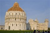 Tourists at baptistery with cathedral, Pisa Cathedral, Pisa Baptistry, Piazza Dei Miracoli, Pisa, Tuscany, Italy