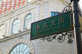 Low angle view of a street name sign, Zhongyang Dajie, Daoliqu Russian Heritage Area, Harbin, Heilungkiang Province, China