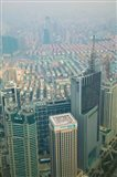 Aerial view of new Pudong district housing, Shanghai, China