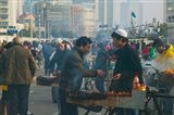 Muslim Chinese Uyghur minority food vendors selling food in a street market, Pudong, Shanghai, China