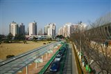 Taxis parked outside a maglev train station, Pudong, Shanghai, China