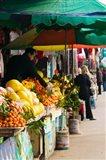 Fruit stalls at a street market, Mingshan, Fengdu Ghost City, Fengdu, Yangtze River, Chongqing Province, China