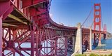 High dynamic range panorama showing structural supports for the bridge, Golden Gate Bridge, San Francisco, California, USA